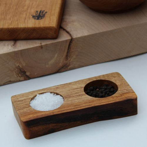 Handmade Wooden Salt and Pepper Pinch Pot