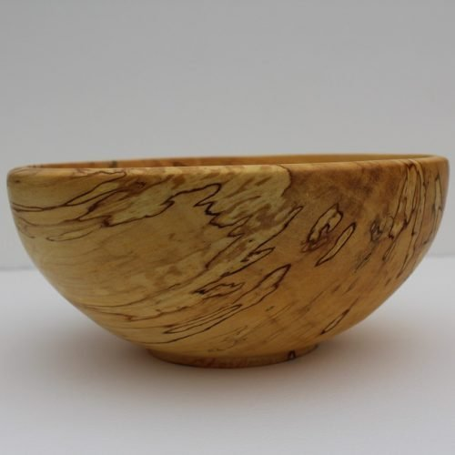 Bowl made of birch wood showing spalted detail side view